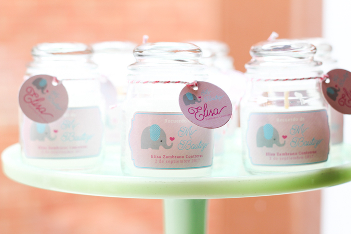 Favor jars from a Little Elephant Baptism Celebration on Kara's Party Ideas | KarasPartyIdeas.com (5)