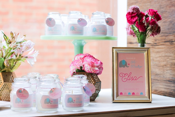 Candle party favors from a Little Elephant Baptism Celebration on Kara's Party Ideas | KarasPartyIdeas.com (21)