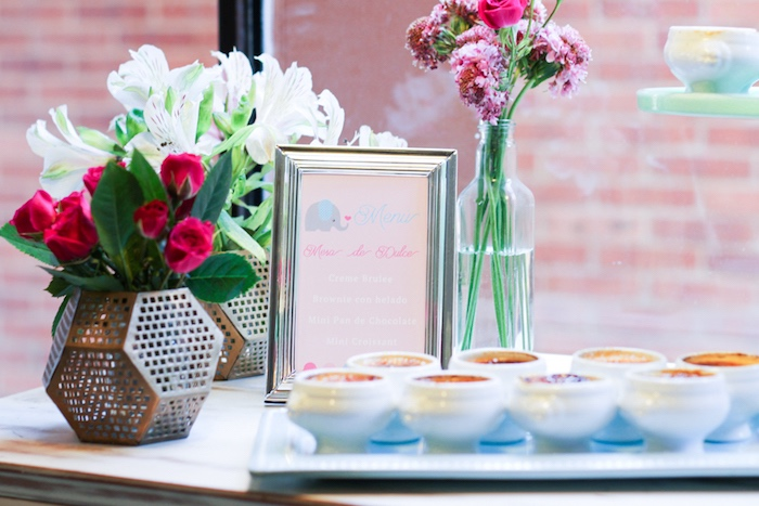Signage and blooms from a Little Elephant Baptism Celebration on Kara's Party Ideas | KarasPartyIdeas.com (17)