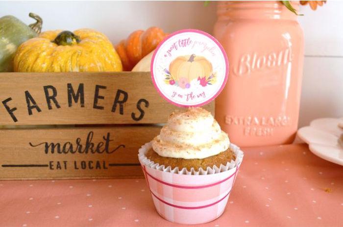 Cupcake from a Little Pumpkin Fall Baby Shower on Kara's Party Ideas | KarasPartyIdeas.com (22)
