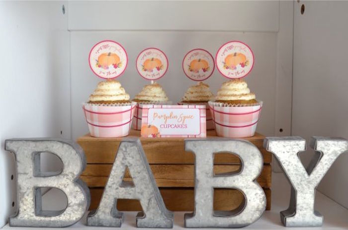 Cupcakes from a Little Pumpkin Fall Baby Shower on Kara's Party Ideas | KarasPartyIdeas.com (20)