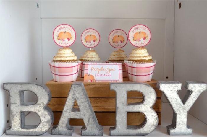 Cupcakes from a Little Pumpkin Fall Baby Shower on Kara's Party Ideas | KarasPartyIdeas.com (20)