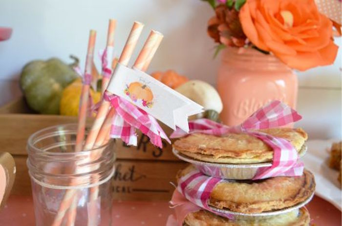 Straws and pies from a Little Pumpkin Fall Baby Shower on Kara's Party Ideas | KarasPartyIdeas.com (16)