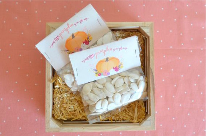 Pumpkin Seed Favors from a Little Pumpkin Fall Baby Shower on Kara's Party Ideas | KarasPartyIdeas.com (15)