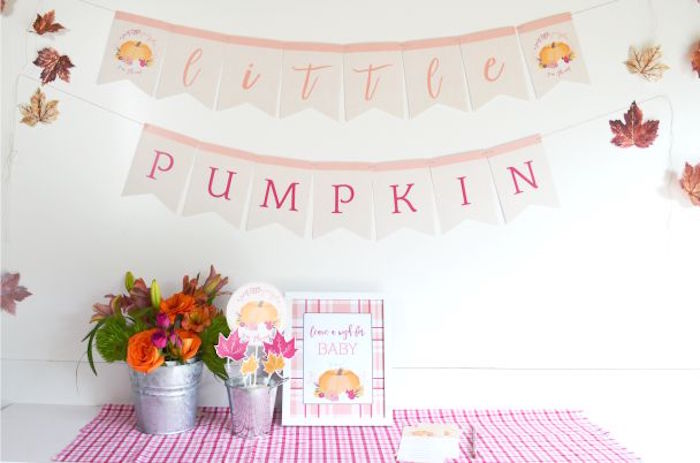 Little Pumpkin party table from a Little Pumpkin Fall Baby Shower on Kara's Party Ideas | KarasPartyIdeas.com (14)