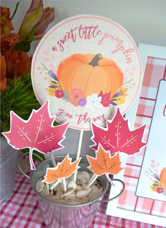 Signage from a Little Pumpkin Fall Baby Shower on Kara's Party Ideas | KarasPartyIdeas.com (10)