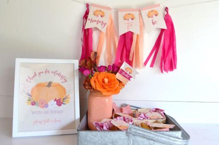 Banners, signage and favors from a Little Pumpkin Fall Baby Shower on Kara's Party Ideas | KarasPartyIdeas.com (9)