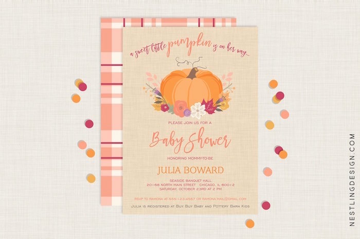Invitation from a Little Pumpkin Fall Baby Shower on Kara's Party Ideas | KarasPartyIdeas.com (6)