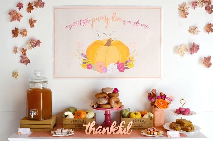 Thankful dessert table from a Little Pumpkin Fall Baby Shower on Kara's Party Ideas | KarasPartyIdeas.com (30)