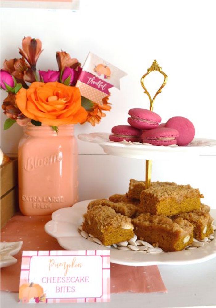 Pumpkin cheesecake bites from a Little Pumpkin Fall Baby Shower on Kara's Party Ideas | KarasPartyIdeas.com (28)