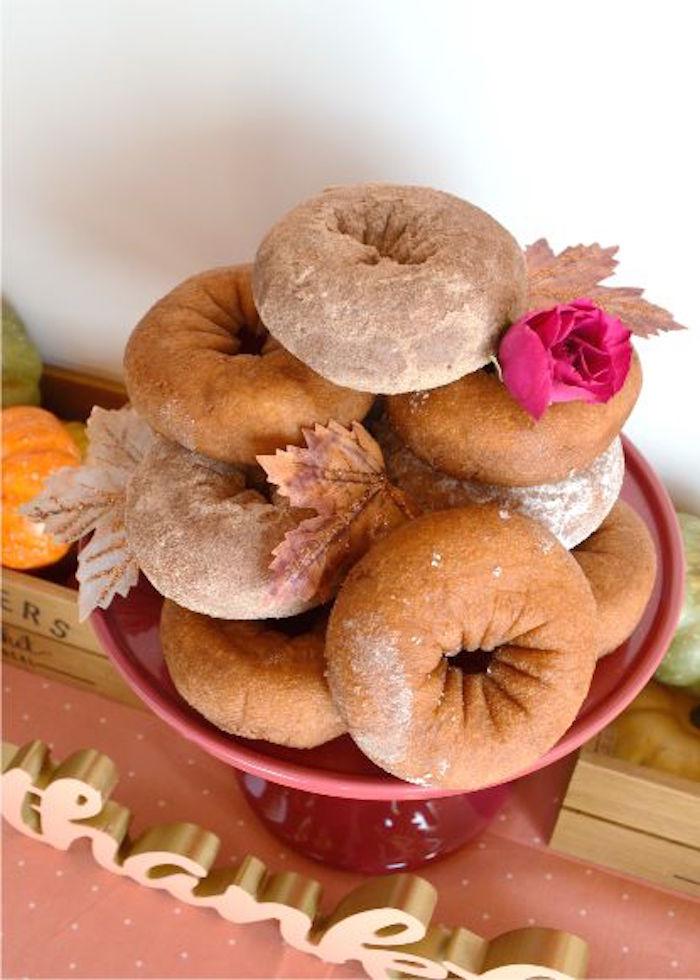 Fall doughnuts from a Little Pumpkin Fall Baby Shower on Kara's Party Ideas | KarasPartyIdeas.com (26)