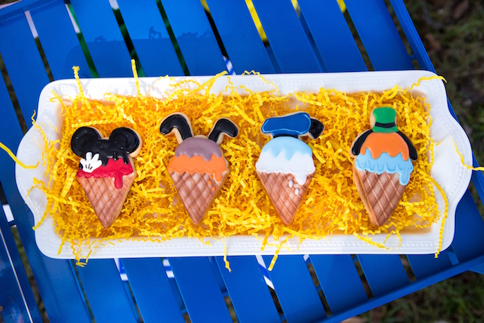 Ice cream cone Mickey Mouse character cookies from a Mickey Mouse & Friends Ice Cream Party on Kara's Party Ideas   KarasPartyIdeas.com (22)