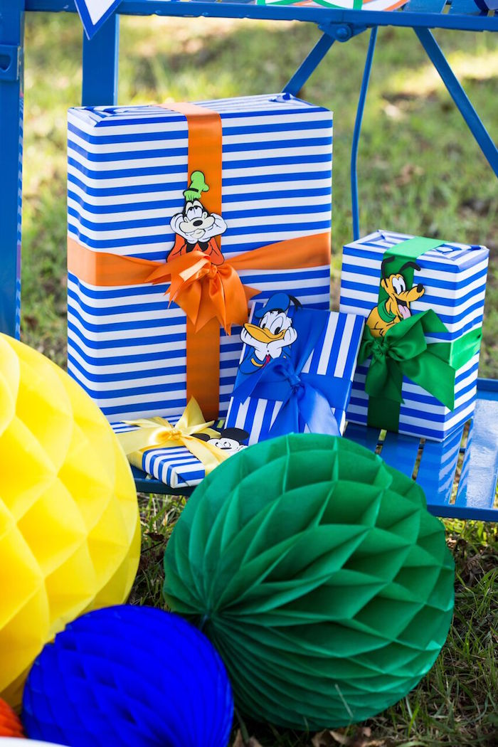 Mickey & friends wrapped gift boxes from a Mickey Mouse & Friends Ice Cream Party on Kara's Party Ideas | KarasPartyIdeas.com (21)