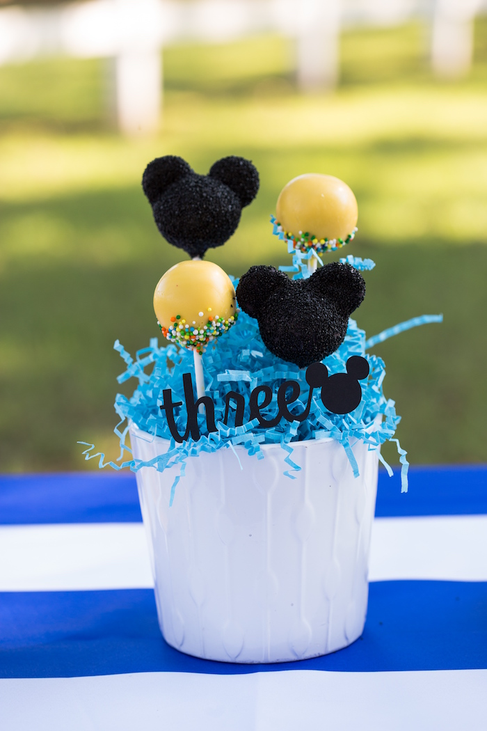 Cake pop centerpiece from a Mickey Mouse & Friends Ice Cream Party on Kara's Party Ideas | KarasPartyIdeas.com (19)
