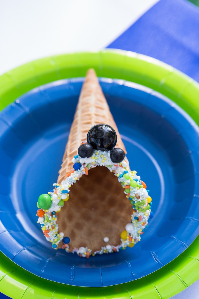Sprinkled Mickey Mouse sugar cone from a Mickey Mouse & Friends Ice Cream Party on Kara's Party Ideas | KarasPartyIdeas.com (18)