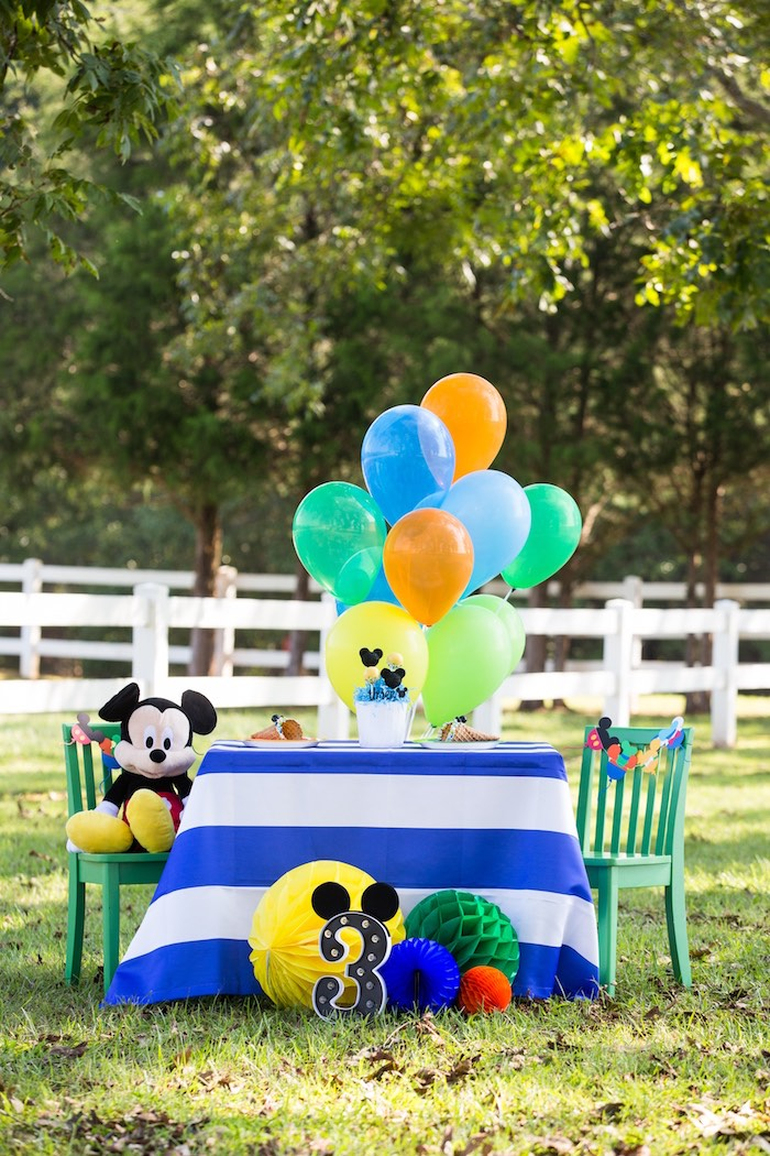 Mickey Mouse Party Table from a Mickey Mouse & Friends Ice Cream Party on Kara's Party Ideas | KarasPartyIdeas.com (16)
