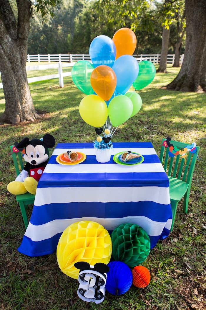 Mickey Mouse party table from a Mickey Mouse & Friends Ice Cream Party on Kara's Party Ideas | KarasPartyIdeas.com (14)