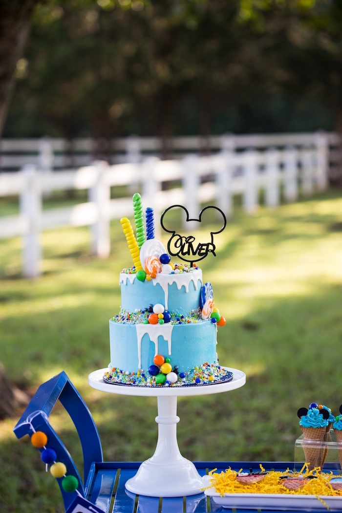 Mickey Mouse drip cake from a Mickey Mouse & Friends Ice Cream Party on Kara's Party Ideas | KarasPartyIdeas.com (31)