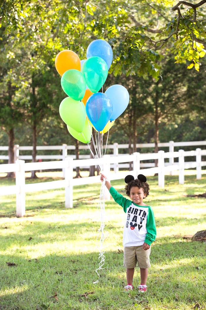 Birthday balloons from a Mickey Mouse & Friends Ice Cream Party on Kara's Party Ideas | KarasPartyIdeas.com (11)