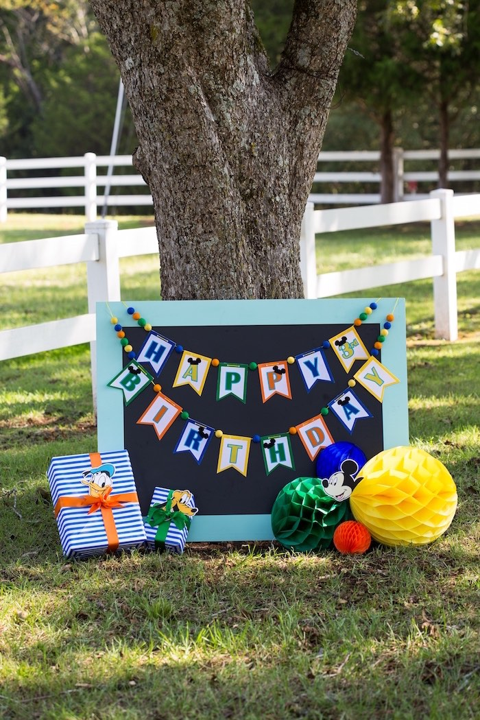 Happy Birthday Banner on blackboard from a Mickey Mouse & Friends Ice Cream Party on Kara's Party Ideas   KarasPartyIdeas.com (7)