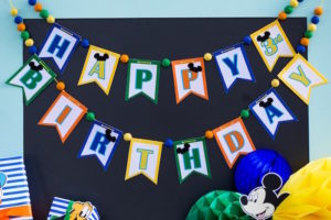 Happy Birthday Banner from a Mickey Mouse & Friends Ice Cream Party on Kara's Party Ideas | KarasPartyIdeas.com (6)