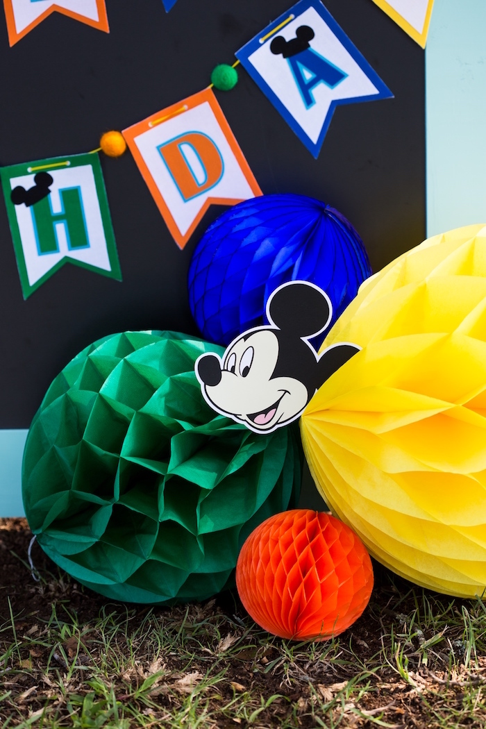 Tissue decorations from a Mickey Mouse & Friends Ice Cream Party on Kara's Party Ideas | KarasPartyIdeas.com (5)