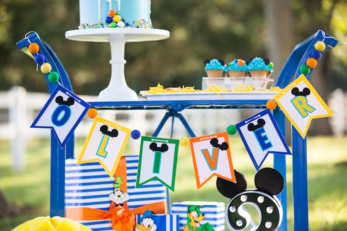 Mickey Mouse name banner from a Mickey Mouse & Friends Ice Cream Party on Kara's Party Ideas | KarasPartyIdeas.com (28)