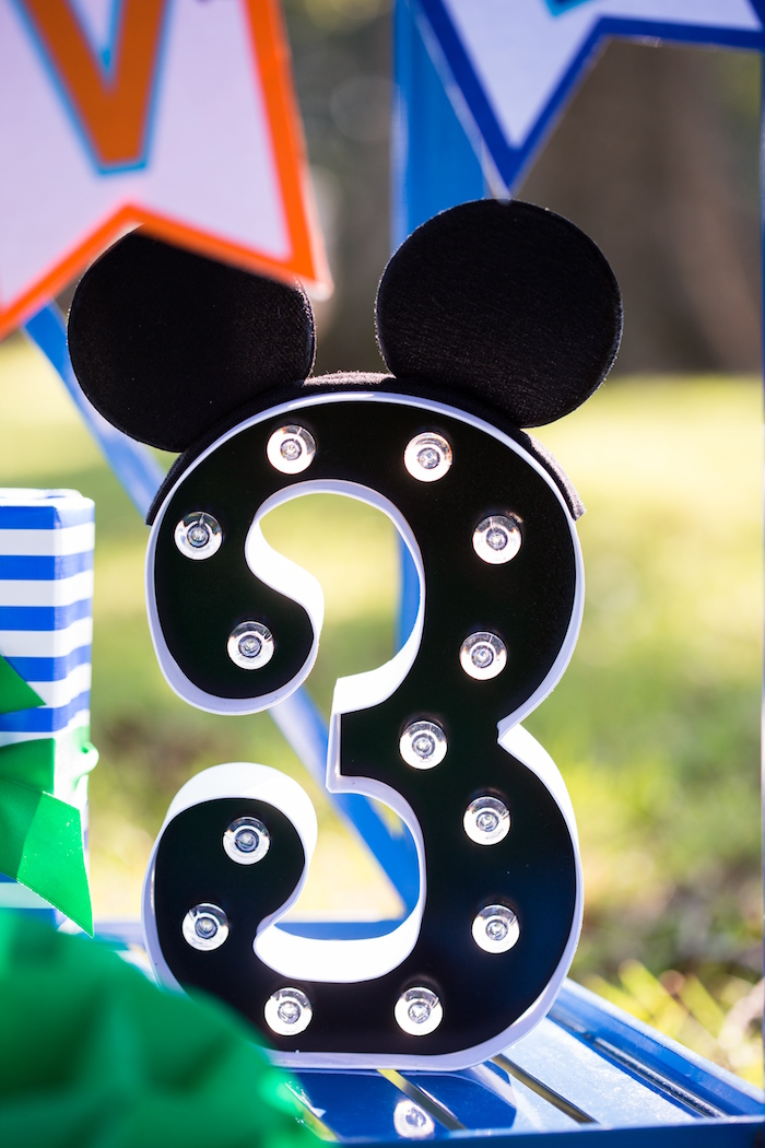 Mickey Mouse number marquee from a Mickey Mouse & Friends Ice Cream Party on Kara's Party Ideas | KarasPartyIdeas.com (27)