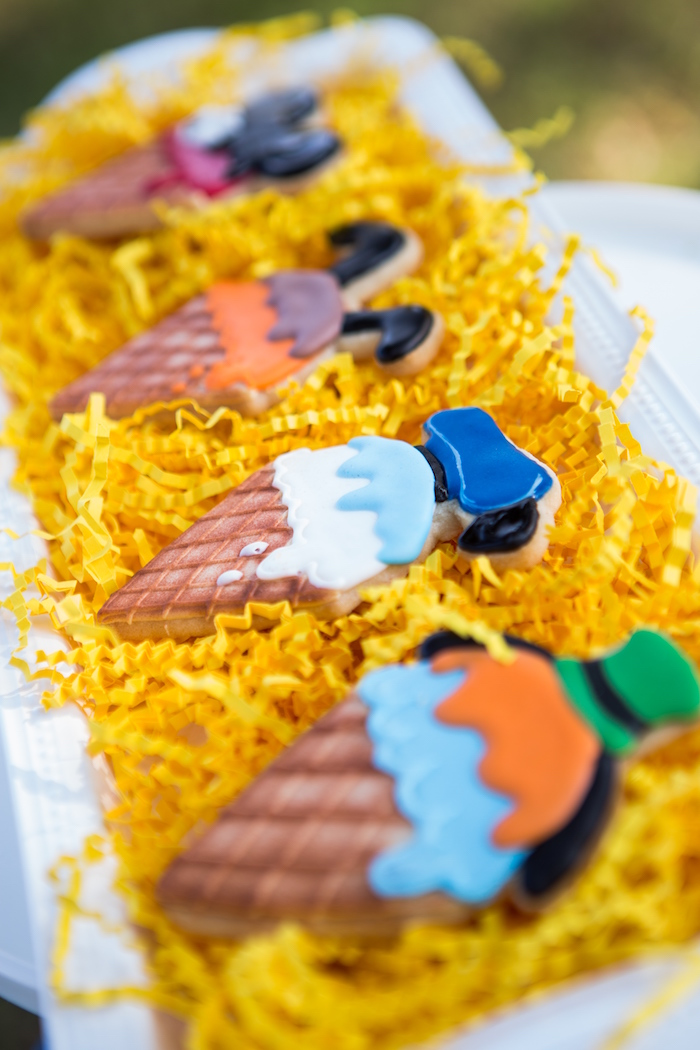 Ice cream cone Mickey Mouse character cookies from a Mickey Mouse & Friends Ice Cream Party on Kara's Party Ideas   KarasPartyIdeas.com (23)