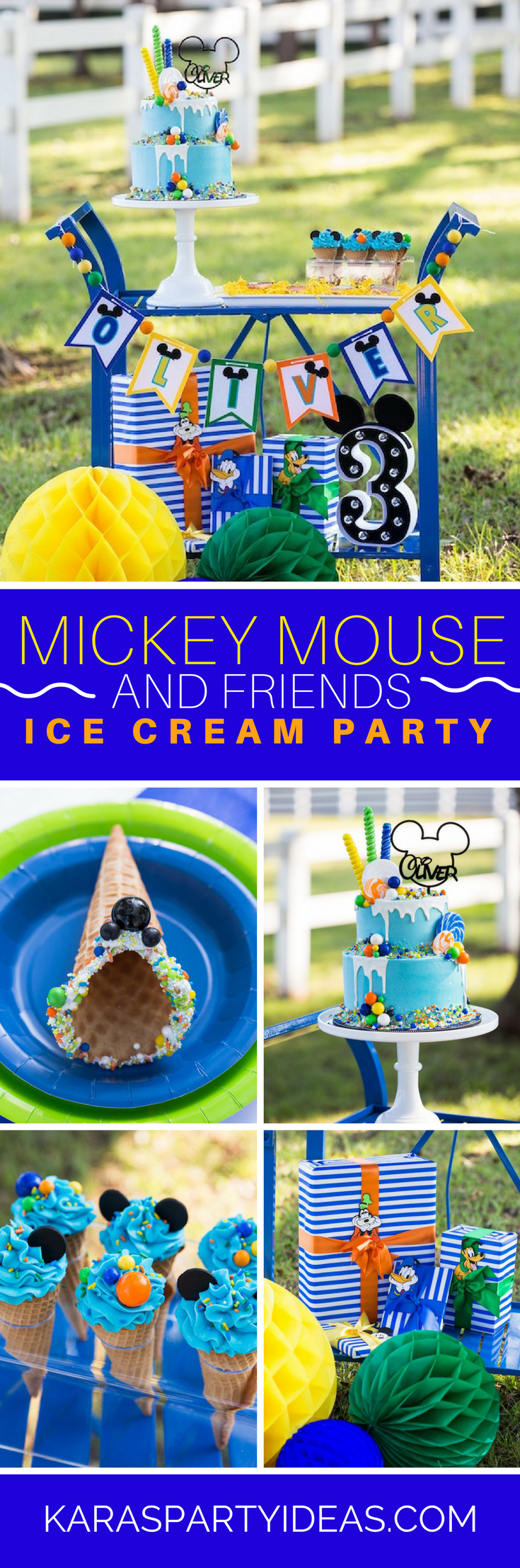 Mickey Mouse and Friends Ice Cream Party via Kara's Party Ideas - KarasPartyIdeas.com