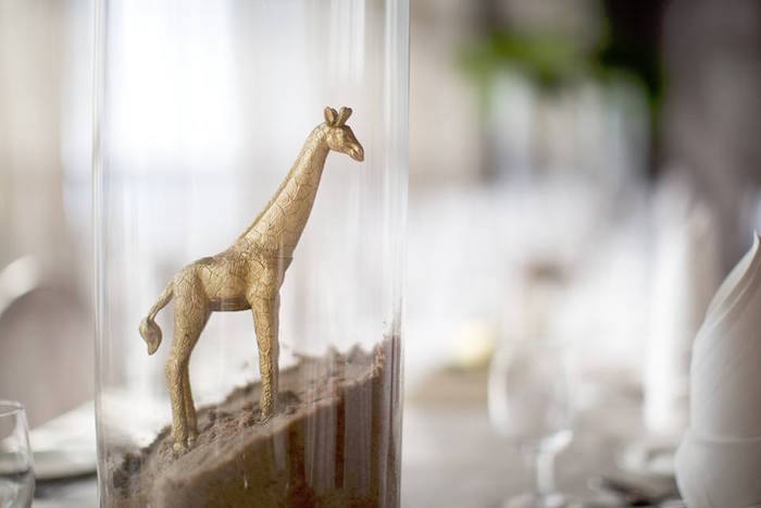 Giraffe centerpiece from a Minimalist Safari Birthday Party on Kara's Party Ideas | KarasPartyIdeas.com (6)