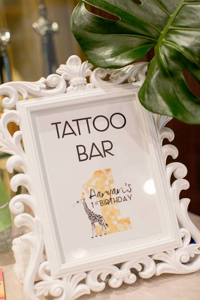 Signage + tattoo bar from a Minimalist Safari Birthday Party on Kara's Party Ideas | KarasPartyIdeas.com (4)