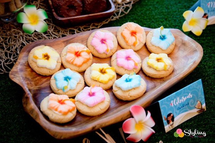 Hibiscus Cookies from a Moana Inspired Tropical Birthday Party on Kara's Party Ideas | KarasPartyIdeas.com (23)