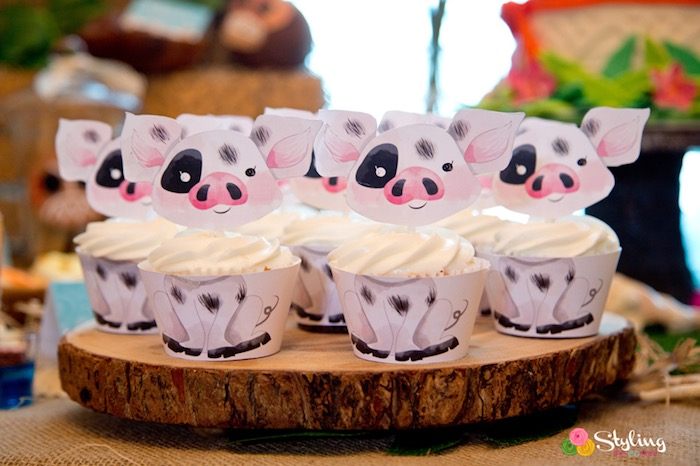 Pua Cupcakes from a Moana Inspired Tropical Birthday Party on Kara's Party Ideas | KarasPartyIdeas.com (21)