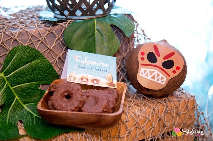 Kakamora coconut cookies from a Moana Inspired Tropical Birthday Party on Kara's Party Ideas | KarasPartyIdeas.com (19)