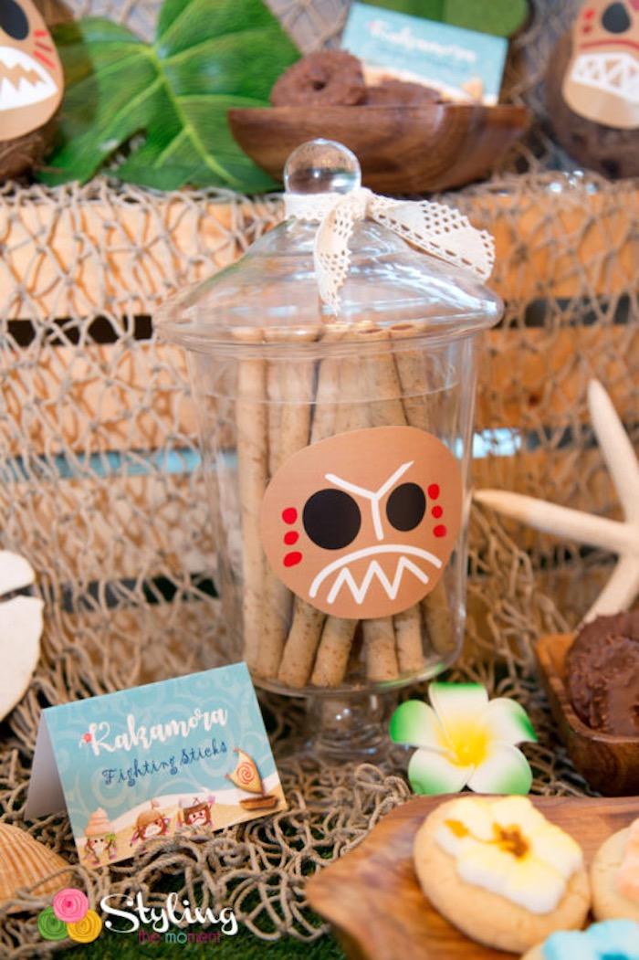 Kakamora sweet jar from a Moana Inspired Tropical Birthday Party on Kara's Party Ideas | KarasPartyIdeas.com (18)