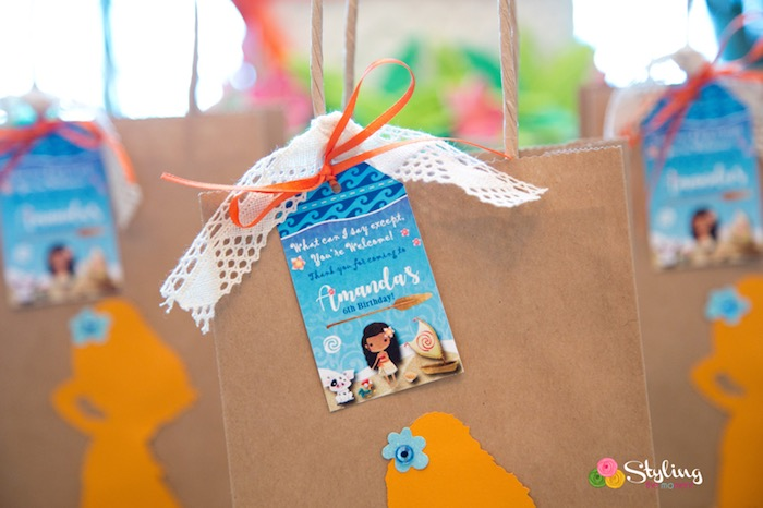 Gift Bag Tags From A Moana Inspired Tropical Birthday Party On Karas Ideas