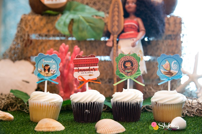 Cupcakes from a Moana Inspired Tropical Birthday Party on Kara's Party Ideas | KarasPartyIdeas.com (8)