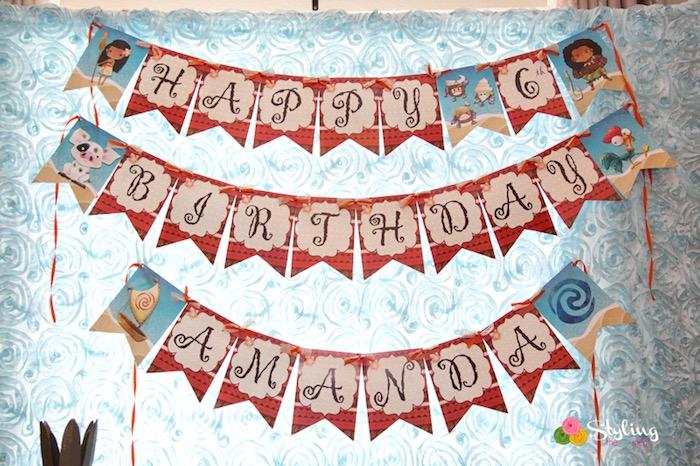Happy Birthday Banner from a Moana Inspired Tropical Birthday Party on Kara's Party Ideas | KarasPartyIdeas.com (7)