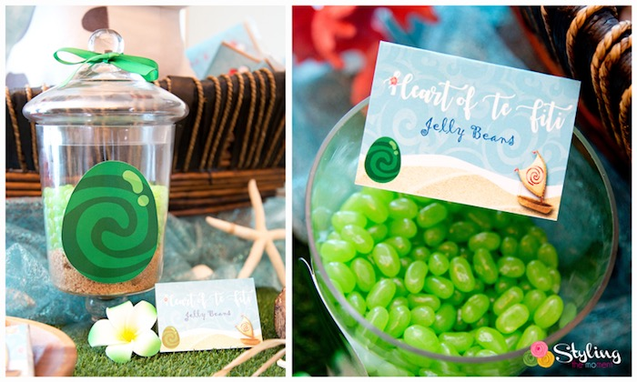 Heart of Te Fiti Jelly Beans from a Moana Inspired Tropical Birthday Party on Kara's Party Ideas | KarasPartyIdeas.com (6)