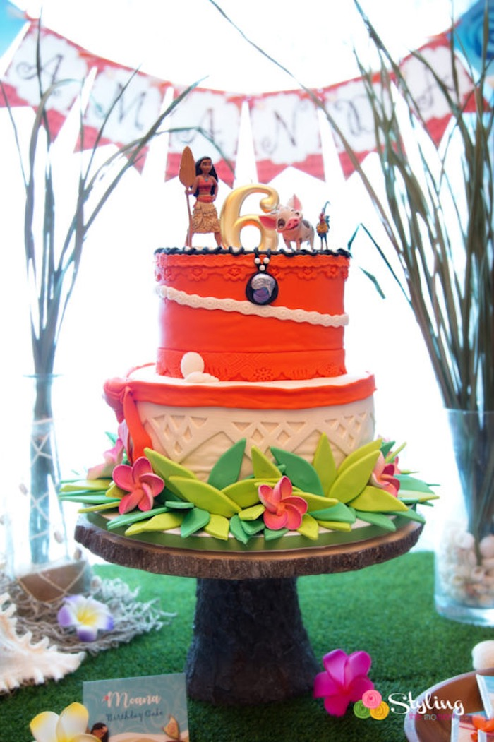 Cake from a Moana Inspired Tropical Birthday Party on Kara's Party Ideas | KarasPartyIdeas.com (31)