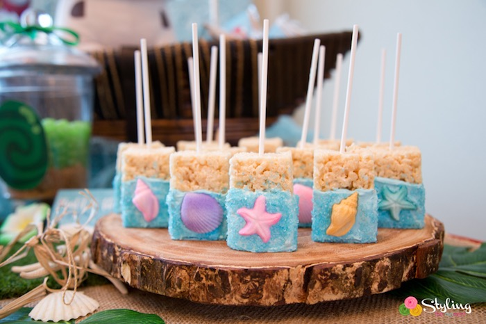Rice Krispie Treats From A Moana Inspired Tropical Birthday Party On Karas Ideas