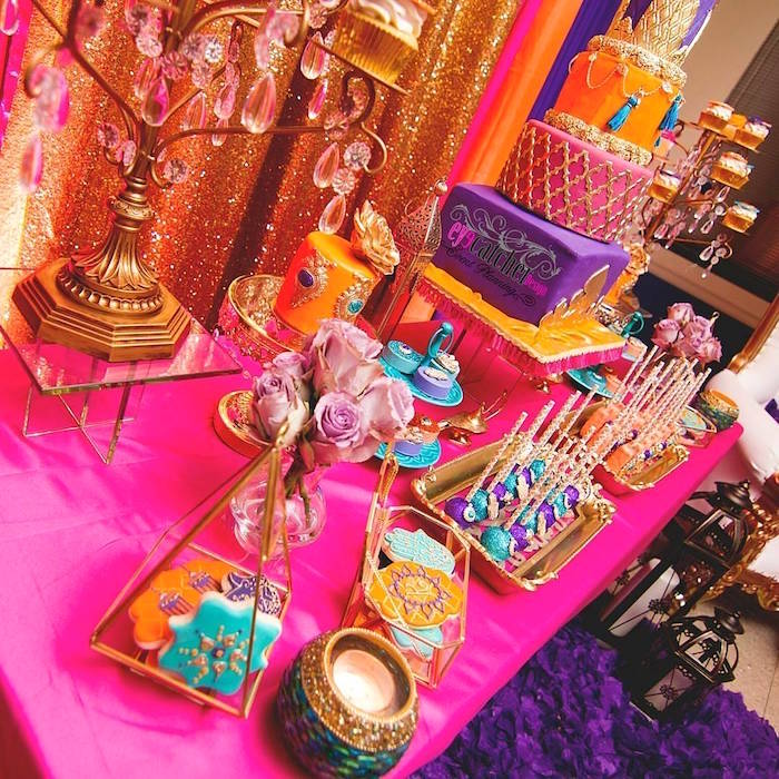 dessert tablescape from a moroccan baby shower on karas party ideas karaspartyideascom