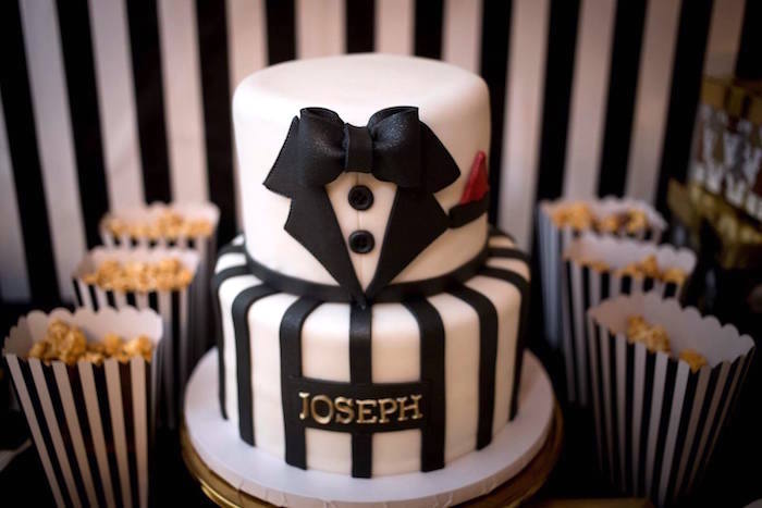 Tuxedo cake from a Mr. ONE-derful 1st Birthday Party on Kara's Party Ideas | KarasPartyIdeas.com (11)