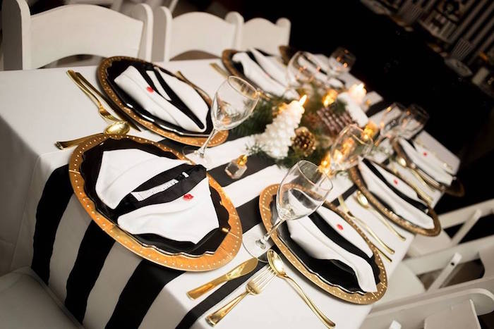 Tuxedo tablescape from a Mr. ONE-derful 1st Birthday Party on Kara's Party Ideas | KarasPartyIdeas.com (9)