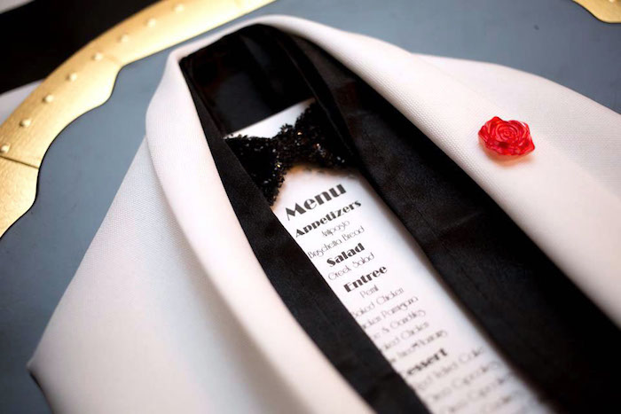 Tuxedo menu from a Mr. ONE-derful 1st Birthday Party on Kara's Party Ideas | KarasPartyIdeas.com (8)