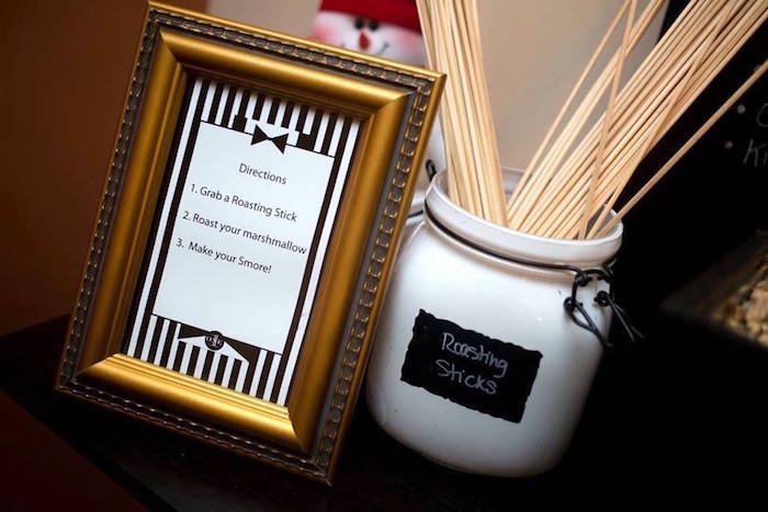 S'mores signage and sticks from a Mr. ONE-derful 1st Birthday Party on Kara's Party Ideas | KarasPartyIdeas.com (6)