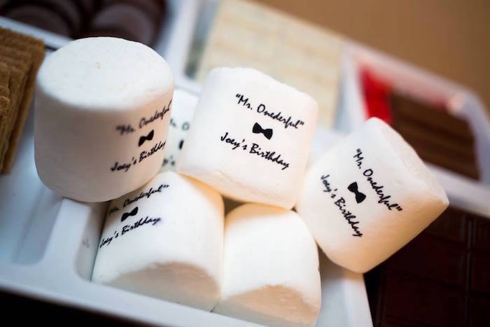 Personalized marshmallows from a Mr. ONE-derful 1st Birthday Party on Kara's Party Ideas | KarasPartyIdeas.com (12)