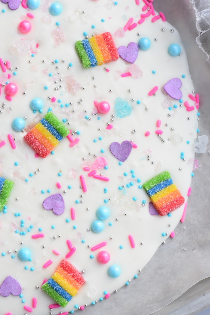 My Little Pony Candy Bark Recipe! Rainbows, sparkles, and more! My Little Pony The Movie Party by Kara's Party Ideas | KarasPartyIdeas.com