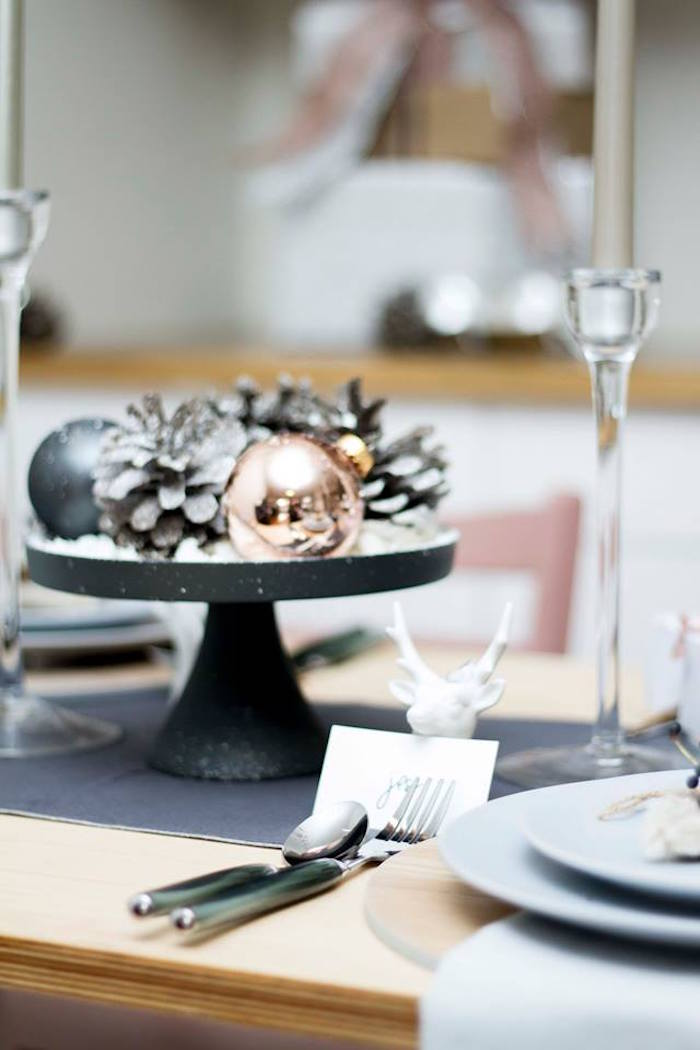 Ornaments and pinecone centerpiece from a Nordic Luxe Christmas Party on Kara's Party Ideas | KarasPartyIdeas.com (14)